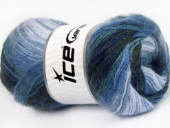Lot of 4 x 100gr Skeins Ice Yarns MOHAIR ACTIVE (50% Mohair) Yarn Navy Blue Shades Lilac Shades