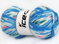 Lot of 4 x 100gr Skeins Ice Yarns BABY WOOL DESIGN (25% Wool) Yarn Blue White