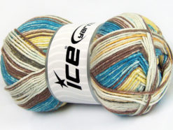 Lot of 4 x 100gr Skeins Ice Yarns COTTON SPRAY (50% Cotton) Yarn Turquoise Brown Yellow Cream