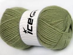 Lot of 4 x 100gr Skeins Ice Yarns FAVOURITE WOOL (50% Wool) Yarn Light Khaki