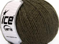 Lot of 8 Skeins Ice Yarns WOOL LIGHT (50% Wool) Hand Knitting Yarn Dark Khaki
