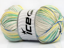 Lot of 4 x 100gr Skeins Ice Yarns TROPICAL MERCERIZED (100% Mercerized Cotton) Yarn Green Shades Blue Yellow Beige