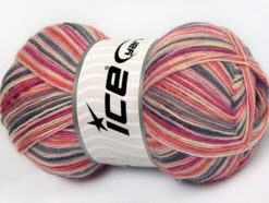 Lot of 4 x 100gr Skeins Ice Yarns MAGIC SOCK (75% Superwash Wool) Yarn Grey Pink Shades Salmon