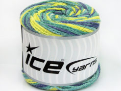 Lot of 2 x 150gr Skeins Ice Yarns CAKES AIR Yarn Green Shades Jeans Blue