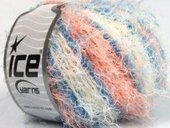 Lot of 8 Skeins Ice Yarns MODENA VISCOSE (40% Viscose 30% Wool) Yarn Blue Salmon White