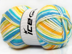 Lot of 4 x 100gr Skeins Ice Yarns FAVORITE BABY Yarn Turquoise Blue Gold Green White