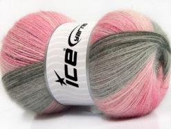 Lot of 4 x 100gr Skeins Ice Yarns ANGORA BATIK (20% Angora 20% Wool) Yarn Pink Shades Grey Shades
