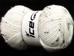 Lot of 4 x 100gr Skeins Ice Yarns FAVORITE TWEED (5% Viscose) Yarn White Brown Shades
