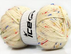 Lot of 4 x 100gr Skeins Ice Yarns FAVORITE TWEED (5% Viscose) Yarn Cream Rainbow
