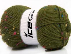 Lot of 4 x 100gr Skeins Ice Yarns FAVORITE TWEED (5% Viscose) Yarn Dark Green Rainbow