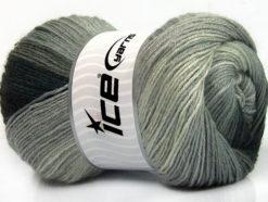 Lot of 4 x 100gr Skeins Ice Yarns MERINO BATIK (30% Merino Wool) Yarn Black Grey Shades