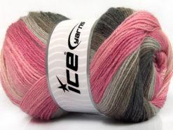 Lot of 4 x 100gr Skeins Ice Yarns MERINO BATIK (30% Merino Wool) Yarn Pink Shades Grey Shades Brown
