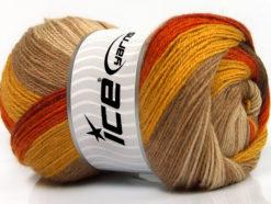 Lot of 4 x 100gr Skeins Ice Yarns MERINO BATIK (30% Merino Wool) Yarn Brown Shades Orange Gold Camel