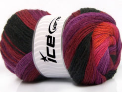 Lot of 4 x 100gr Skeins Ice Yarns MERINO BATIK (30% Merino Wool) Yarn Purple Burgundy Black Pink Orange
