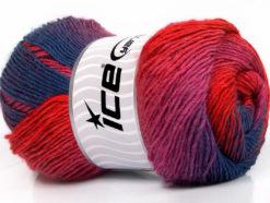 Lot of 4 x 100gr Skeins Ice Yarns PRIMADONNA (50% Wool) Yarn Red Fuchsia Lilac Navy