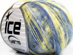 Lot of 10 Skeins Ice Yarns KID MOHAIR FLAMME (37% Kid Mohair) Yarn Blue Yellow White