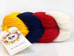 Lot of 2 x 100gr Skeins Ice Yarns ART COLOR COTTON (50% Cotton) Yarn Dark Yellow Navy Red Ecru