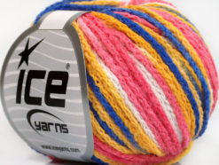 Lot of 8 Skeins Ice Yarns MONACO Hand Knitting Yarn Pink White Gold Blue