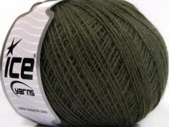 Lot of 8 Skeins Ice Yarns ACRYL CORD FINE Hand Knitting Yarn Khaki