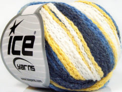 Lot of 8 Skeins Ice Yarns MONACO Hand Knitting Yarn Navy Blue Yellow White