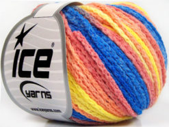 Lot of 8 Skeins Ice Yarns MONACO Hand Knitting Yarn Blue Yellow Light Salmon