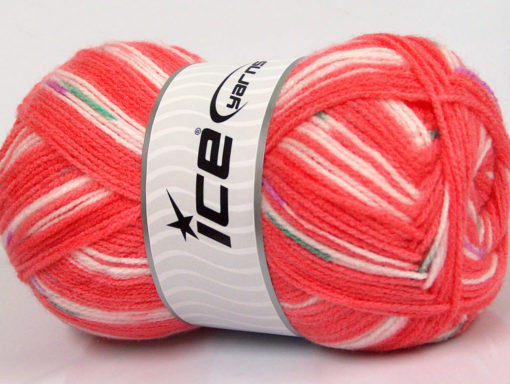 Lot of 4 x 100gr Skeins Ice Yarns BABY DESIGN Yarn Salmon Shades Green Lilac White