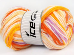 Lot of 4 x 100gr Skeins Ice Yarns GUMBALL Yarn Orange Shades Lilac White