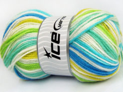 Lot of 4 x 100gr Skeins Ice Yarns GUMBALL Yarn Turquoise Blue Green Shades White