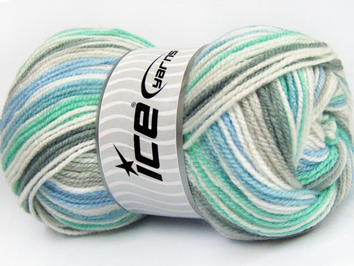 Lot of 4 x 100gr Skeins Ice Yarns GUMBALL Yarn Mint Green Blue Grey White