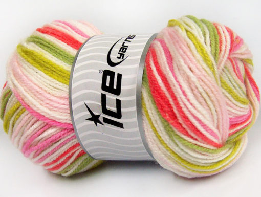 Lot of 4 x 100gr Skeins Ice Yarns GUMBALL Yarn Pink Shades Green Shades White Salmon