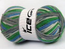 Lot of 4 x 100gr Skeins Ice Yarns SUPER SOCK (75% Superwash Wool) Yarn Grey Shades Blue Green White