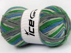 Lot of 4 x 100gr Skeins Ice Yarns SUPER SOCK (75% Superwash Wool) Yarn Grey Shades Blue Green White