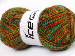 Lot of 4 x 100gr Skeins Ice Yarns BABY MIX Yarn Green Brown Orange Turquoise Gold