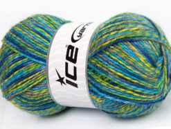 Lot of 4 x 100gr Skeins Ice Yarns BABY MIX Yarn Turquoise Blue Green Shades Camel