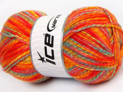 Lot of 4 x 100gr Skeins Ice Yarns BABY MIX Yarn Red Gold Orange Shades Mint Green