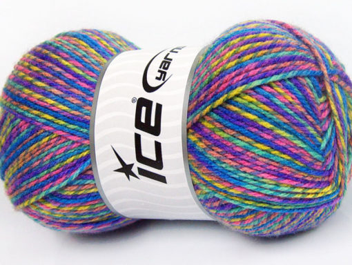 Lot of 4 x 100gr Skeins Ice Yarns BABY MIX Yarn Blue Green Shades Pink Yellow
