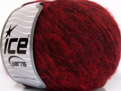 Lot of 8 Skeins Ice Yarns BAMBOO SOFTAIR (15% Bamboo) Yarn Burgundy Red Black