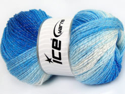 Lot of 4 x 100gr Skeins Ice Yarns MAGIC GLITZ Yarn Blue Shades White