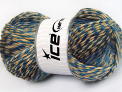Lot of 4 x 100gr Skeins Ice Yarns HARMONY Yarn Blue Shades Camel Beige Grey Cream