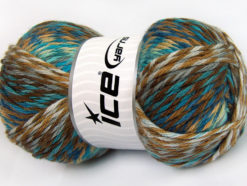 Lot of 4 x 100gr Skeins Ice Yarns HARMONY Yarn Brown Shades Turquoise Shades Light Grey