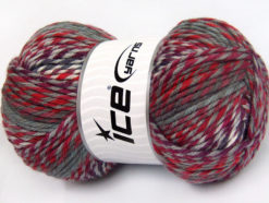 Lot of 4 x 100gr Skeins Ice Yarns HARMONY Yarn Grey Red Purple Maroon