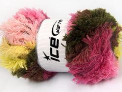Lot of 4 x 100gr Skeins Ice Yarns LAMBKIN COLOR Yarn Light Yellow Dark Khaki Pink Shades