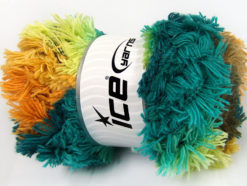 Lot of 4 x 100gr Skeins Ice Yarns LAMBKIN COLOR Yarn Turquoise Shades Camel Gold Light Green Orange