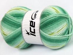 Lot of 4 x 100gr Skeins Ice Yarns BABY DESIGN Hand Knitting Yarn Green Shades