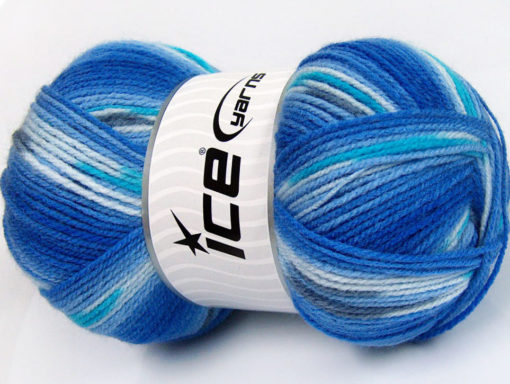 Lot of 4 x 100gr Skeins Ice Yarns BABY DESIGN Yarn Blue Shades Turquoise Light Grey