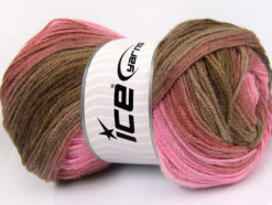 Lot of 4 x 100gr Skeins Ice Yarns MAGIC LIGHT Yarn Pink Shades Brown Shades