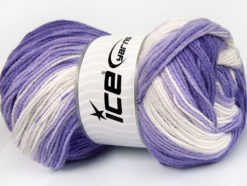 Lot of 4 x 100gr Skeins Ice Yarns BABY BATIK Yarn Lilac Shades Cream