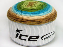 Lot of 3 x 100gr Skeins Ice Yarns CAKES BABY FINE Yarn Green Shades Turquoise Shades Brown Shades
