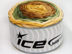 Lot of 2 x 150gr Skeins Ice Yarns CAKES CHENILLE Yarn Brown Shades Khaki