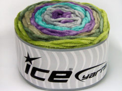 Lot of 2 x 150gr Skeins Ice Yarns CAKES CHENILLE Yarn Green Khaki Lilac Turquoise Light Grey